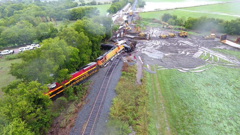 No one was injured when 11 Kansas City Southern freight cars derailed in the incident.