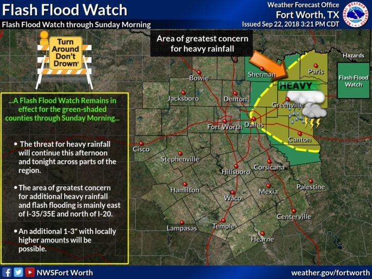 Heavy rainfall continues to be possible in Northeast Texas through Sunday morning.