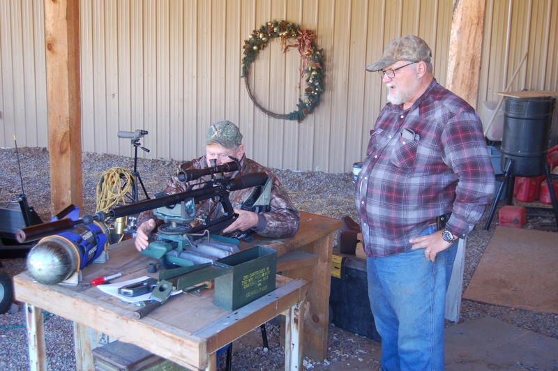Luke and David enjoying a little range time shooting the Texan Big Bore airgun www.airforceairguns.com  in .45 caliber.