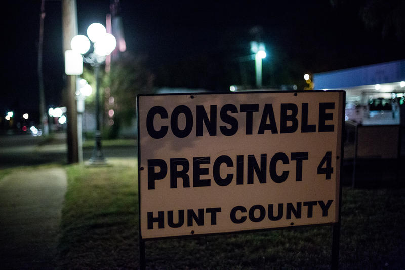 A sign outside the Constable's Office on Main Street in Quinlan, TX.