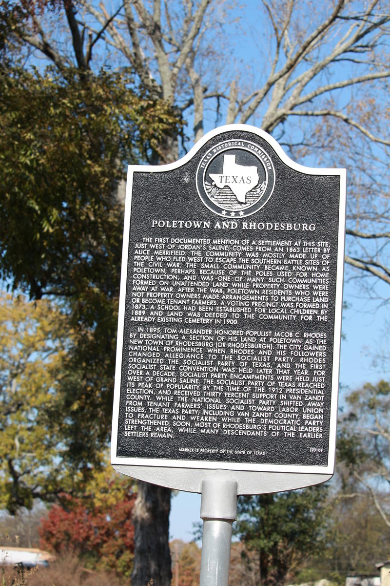 The plaque marking where the Poletown section of Grand Saline was founded. Despite its reputation, the section was named after buildings made of thin ttrees, not racist violence.