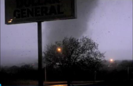 Screen grab from video of one of the Woodward tornados during a lightning flash after midnight on April 15th.