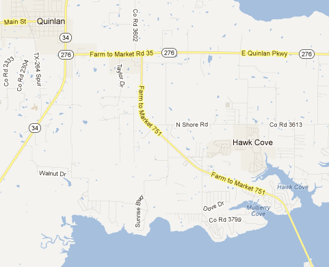 Map showing FM 751 near Quinlan, TX