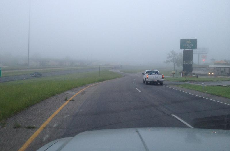 Fog surrounds drivers along eastbound Interstate 30