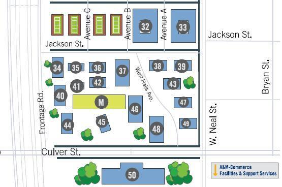 A campus map displays an old layout of residence halls at the corner of Culver and W. Neal St. Several have since been demolished and more underway to allow for new halls.