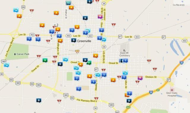 A screenshot shows crime and other activity indicated by various icons on Friday afternoon in Greenville.