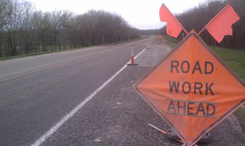 Highway 11 construction east of Wolfe City; one of dozens of current work sites locally.