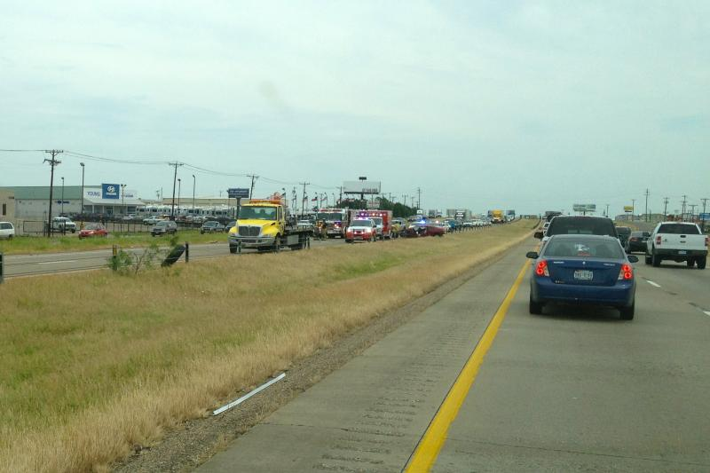 A wreck on Interstate 30 westbound near Rockwall has traffic at a standstill on May 6th, 2012.