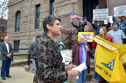 Julia Trigg Crawford addresses a rally outside the Lamar County Courthouse in February