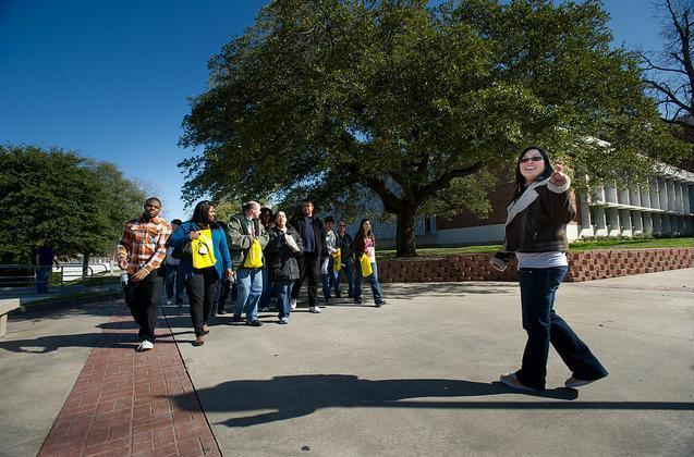 Prospective students take part in one of several campus tours offered during the recent Mane Event Preview Day.