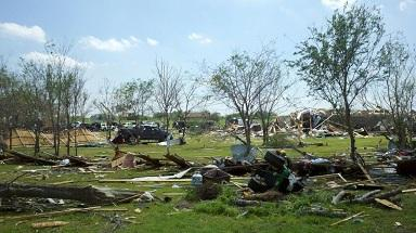 A picture of the scope of tornado damage south of Royse City in Rockwall County