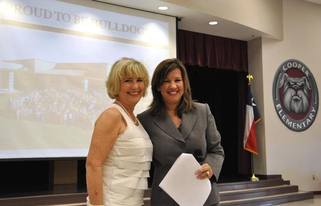 New principal Dr. Cathy Severns (left) poses with Cooper ISD Superintendent Denicia Hohenberger