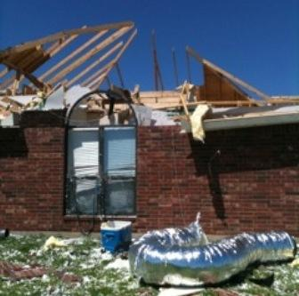 The damage to Jeremy Wofford's home after the April 3 tornado