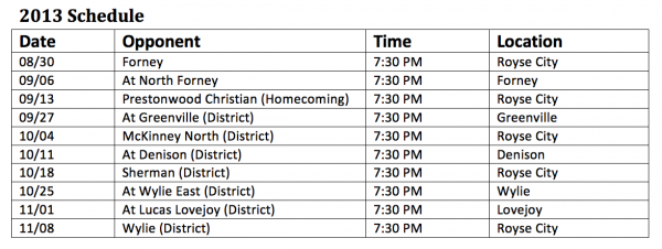 Royse City High School Bulldogs Football Schedule 2013