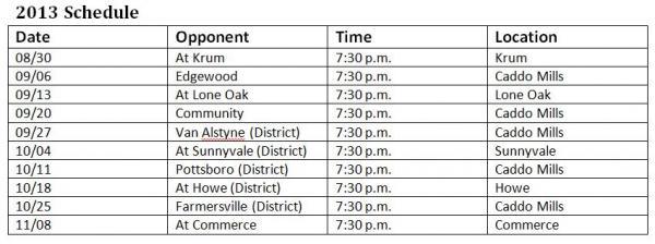 Caddo Mills High School Foxes Football Schedule 2013