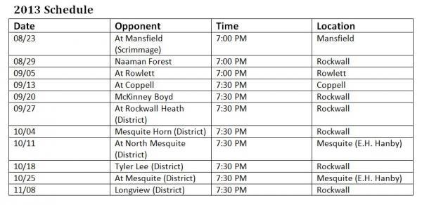 Rockwall High School Yellowjackets Football Schedule 2013
