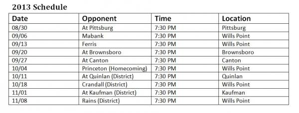 Wills Point Tigers football schedule 2013