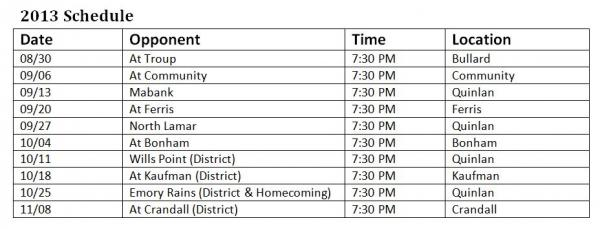 Quinlan Ford High School Football Schedule 2013