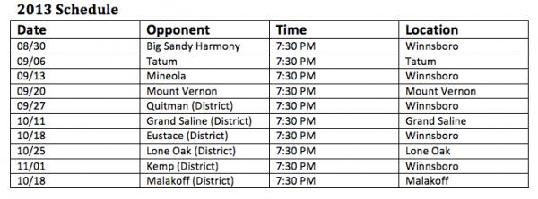Winnsboro High School Red Raiders Football Schedule 2013
