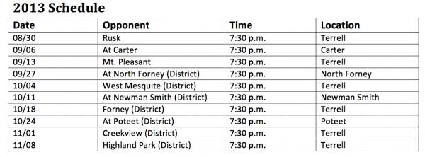 Terrell High School Tigers Football Schedule 2013
