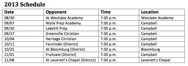Campbell High School Indians Football Schedule 2013