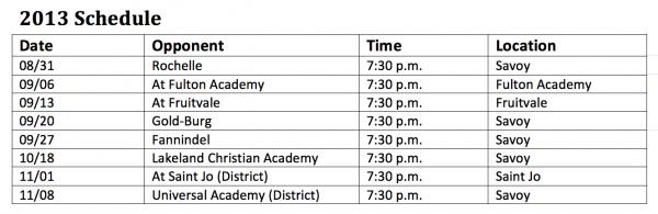 Savoy High School Cardinals Football Schedule 2013