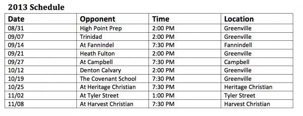 Greenville Christian High School Eagles Football Schedule 2013