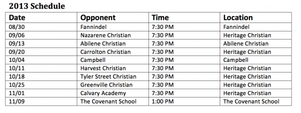 Heritage Christian High School Eagles Football Schedule 2013