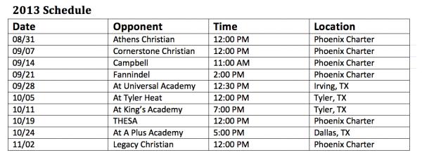 Phoenix Charter High School Firebirds Football Schedule 2013