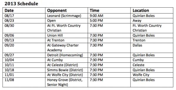 Quinlan Boles Hornets Football Schedule 2013