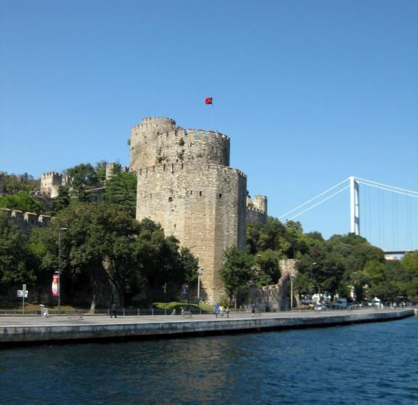 Ruins of Turkey's past, nestled between modern structures, on the Bosphorous Strait.