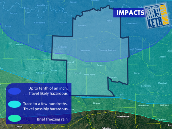 Areas to the north will receive the most ice accumulation, and will experience hazardous travel conditions.