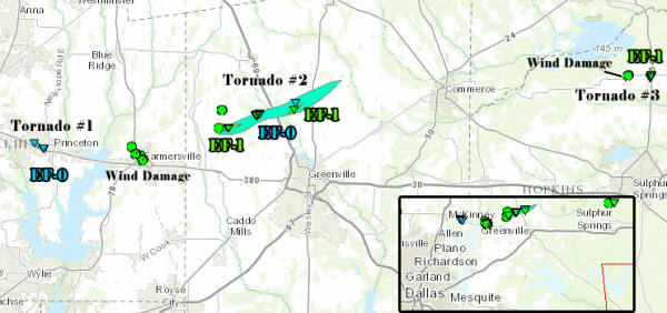 Three tornadoes touched down during a severe weather outbreak on Thursday, April 3.