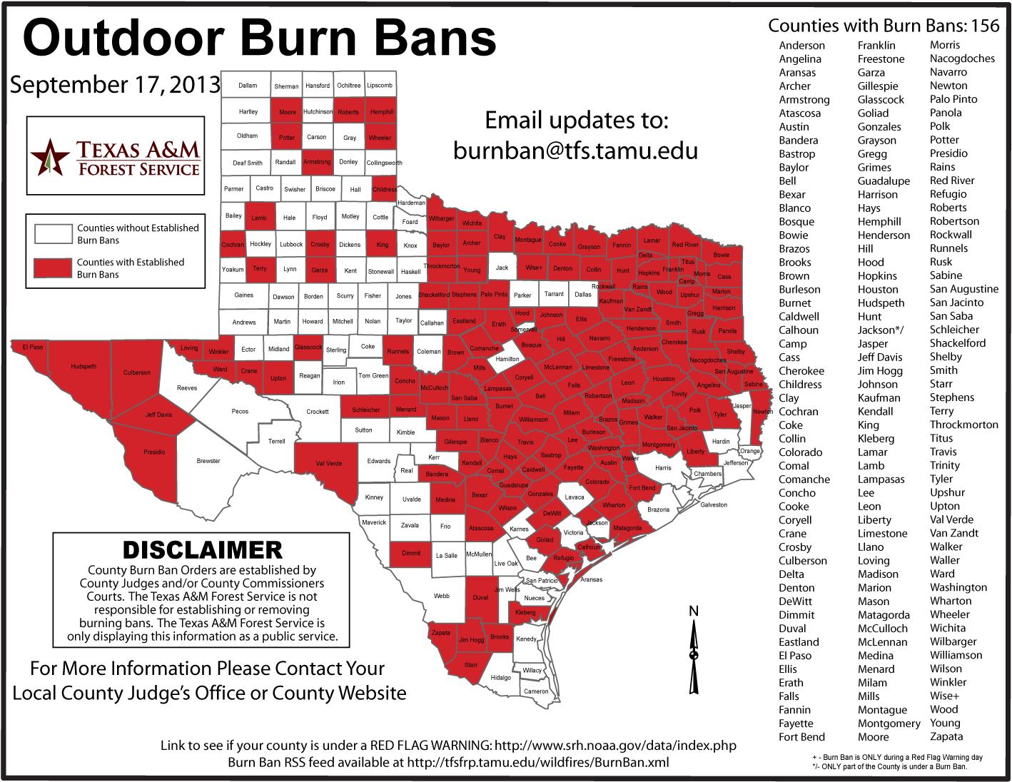 Burn Ban Texas Map
