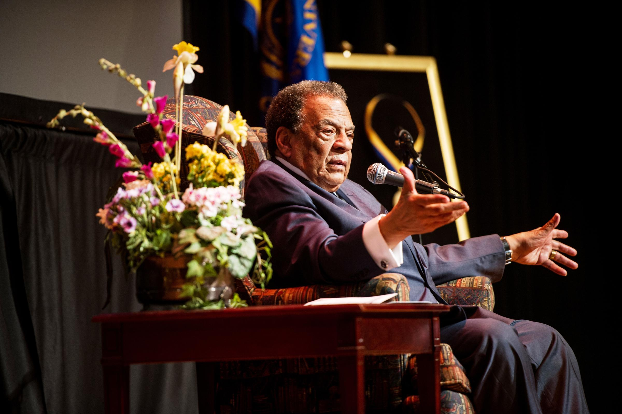 Andrew Young spoke at Texas A&M University-Commerce on April 18.