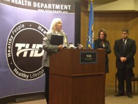 State Epidemiologist Dr. Kristy Bradley, Oklahoma Board of Dentistry Executive Director Susan Rogers and Tulsa Health Department Director Dr. Bruce Dart encourage anyone potentially exposed to visit the Health Department's free clinic.