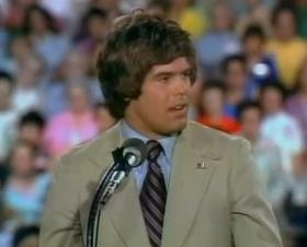 Steve Davis preaches to a national television audience during a Billy Graham crusade in Lubbock, Tex. on Sept. 4, 1975.