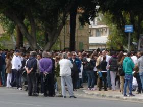 Protesters gather outside the Cyprus Parliament in Nicosia - March 22, 2013.