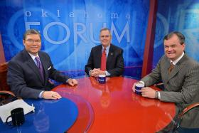 OETA's Dick Pryor with state Senate President Pro Tempore Brian Bingman and minority leader Sean Burrage on the set of Oklahoma Forum.