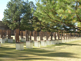 The Field of Empty Chairs at the symbolic outdoor portion of the  Oklahoma City National Memorial.