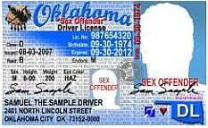 This is what an Oklahoma sex offender's driver license looks like.