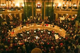 The Wisconsin state Capitol during the fight between Gov. Scott Walker and pro-union groups.