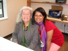 Sima Bhowmik with Nora Guthrie, daughter of Woody Guthrie.