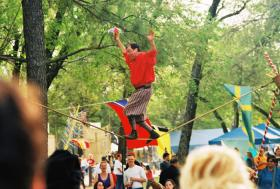 Dan Looker walks the line at the Medieval Fair of Norman