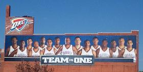 A large banner celebrates the Thunder in Oklahoma City's Bricktown.