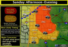 The threat for severe storms and tornadoes continues into Sunday.