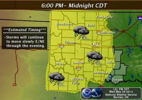 Storms will continue to move eastward through the evening and early overnight. Large hail and damaging winds will be the primary concerns for locations across central Oklahoma.