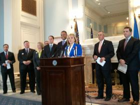 Gov. Mary Fallin, House Speaker T.W. Shannon (R-Lawton) and other legislative leaders announce Thursday's budget agreement at the State Capitol.