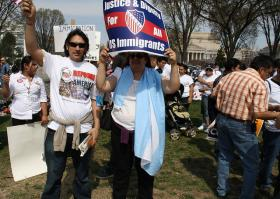 Marchers at a 2010 rally for changes to U.S. immigration law in Washington, D.C.