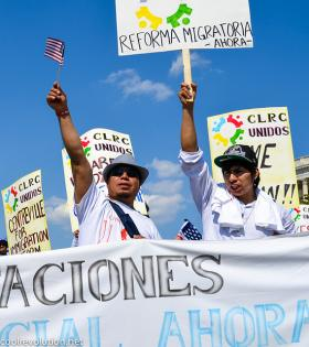 Marchers at a rally to change U.S. immigration laws.